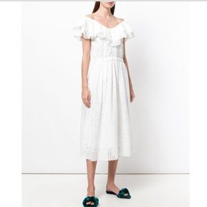 LoveShackFancy Eyelet Frill Dress V Neck White M